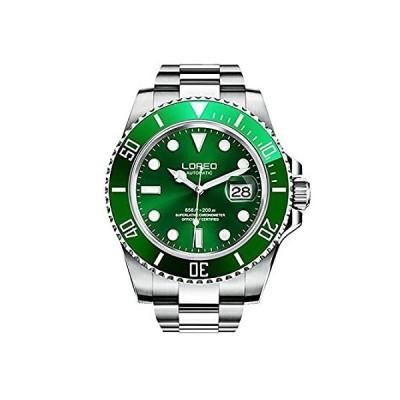 特別価格LOREO 腕時計 自動巻き カレンダー 夜光 回転ベゼル メンズ グリーン好評販売中