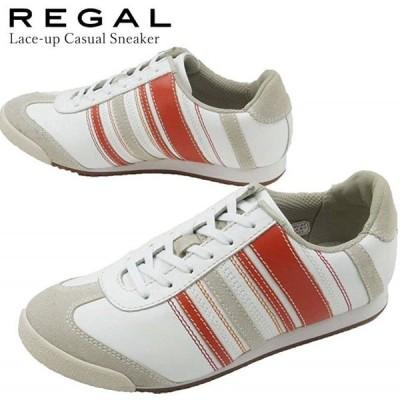 リーガル REGAL ローカット スニーカー 革靴 レザー レディース BE72 レースアップシューズ マルチボーダー ホワイト オレンジ