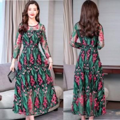 パーティードレス 結婚式 二次会 お呼ばれ ワンピース 袖あり お呼ばれドレス ドレス 20代 30代 40代 花柄 大きいサイズ