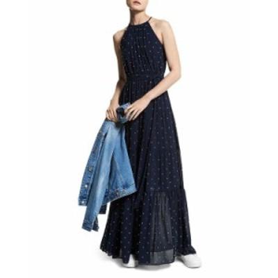 マイケルコース レディース ワンピース トップス Perfect Dots Halter Maxi Dress Midnight Blue