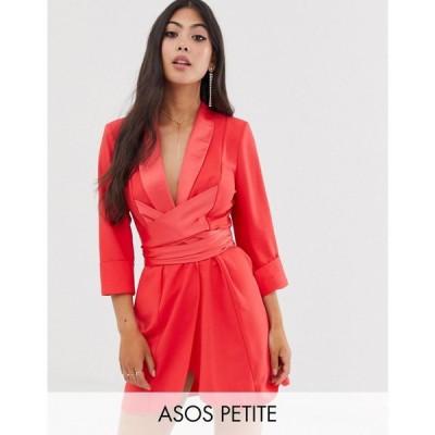 エイソス ASOS DESIGN レディース ワンピース ワンピース・ドレス Petite mini tux dress with self belt Red