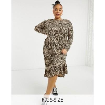 デイジーストリート レディース ワンピース トップス Daisy Street Plus midaxi smock dress in leopard print