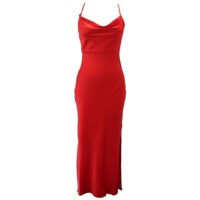テイラー ワンピース トップス レディース Fitted Cowlneck Crepe Gown Red
