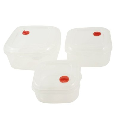 uxcell ホームスクエア 透明 プラスチック製 電子レンジ入れ 食品貯蔵ボックス 3インチ セット