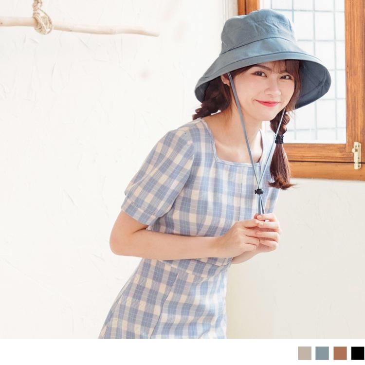 可調節寬帽沿高含棉漁夫帽.附帽繩