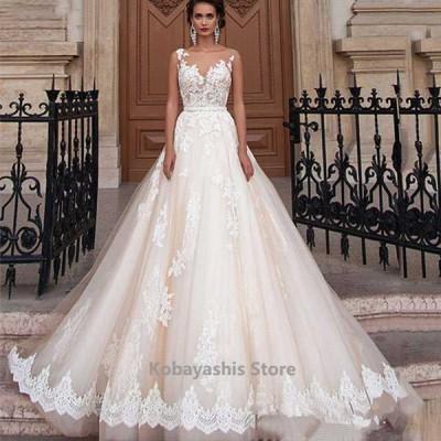 ホワイトウエディングドレスノースリーブトレーンドレス背開き結婚式ドレスAライン花嫁ロングドレスブライダル披露宴挙式