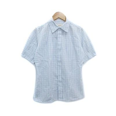 【中古】ステファンシュナイダー STEPHAN SCHNEIDER シャツ カジュアル 半袖 透け感 チェック柄 1 白 紺 ホワイト ネイビー /FF43 メンズ 【ベクトル 古着】