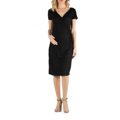 24セブンコンフォート ワンピース トップス レディース Faux Wrapover Maternity Dress with Cap Sleeves Black