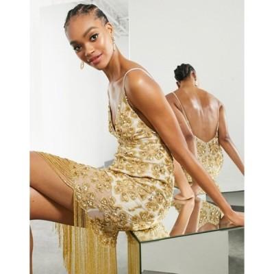 エイソス レディース ワンピース トップス ASOS EDITION floral sequin fringe cami midi dress in gold