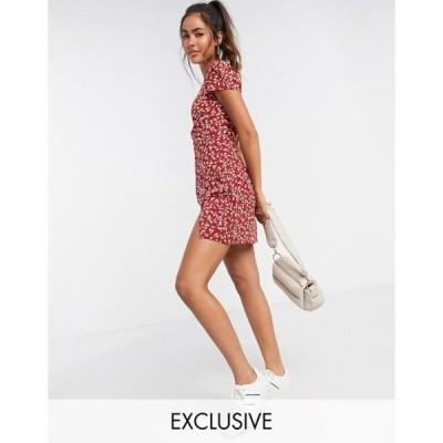 ファッションモンキー レディース ワンピース トップス Fashion Union mini dress in tonal floral print with thigh split
