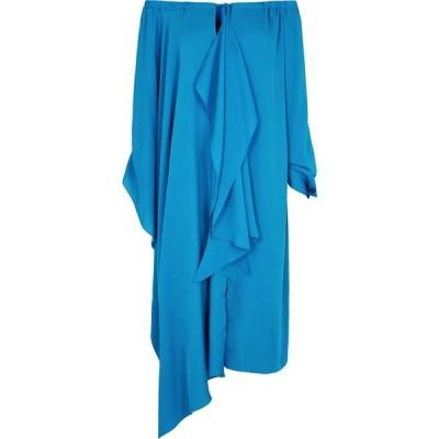 ローラン ムレ Roland Mouret レディース パーティードレス ワンピース・ドレス Caldera Blue Draped Silk Dress Blue