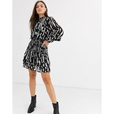 リバーアイランド レディース ワンピース トップス River Island shirred waist mini dress in black print