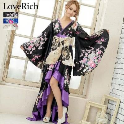 全3色 花柄フリルサテンロング着物ドレス 花魁 衣装 撮影 ダンス パーティー