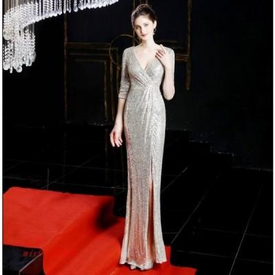 7色 ワンピ タイトワンピース イブニングドレス ウェディングドレス 二次会 ノースリーブ オシャレ Vネック レディース かわいい 大人 結婚式 パーティードレス