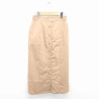 【中古】riche glamour スカート タイト ロング ボタン装飾 無地 シンプル M 茶 ベージュ /TT8 レディース