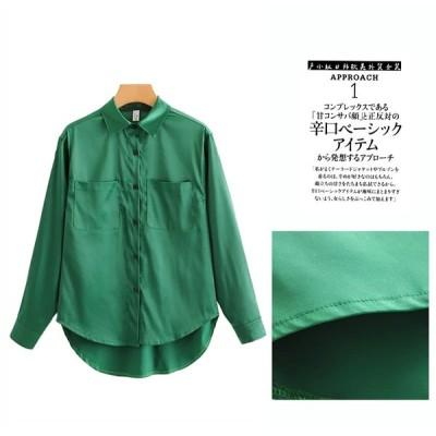 2020年新品 レディースシャツ オシャレ キレイ グリーン 長袖
