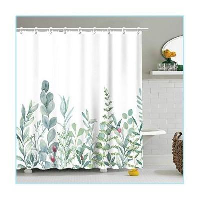 新品Stacy Fay Botanical Shower Curtain Watercolor Plant Succulent Green Leaves with 12 Hooks Eucalyptus Floral Pattern Fern Nature Bath Cu