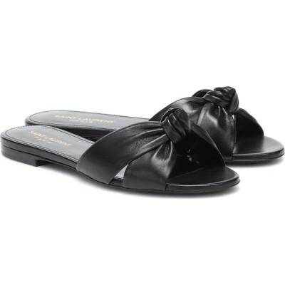 イヴ サンローラン Saint Laurent レディース サンダル・ミュール シューズ・靴 bianca leather slides Noir