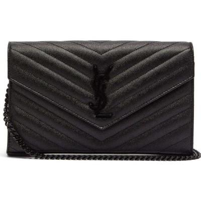 イヴ サンローラン Saint Laurent レディース クラッチバッグ バッグ Chain-strap quilted grained-leather shoulder bag Black