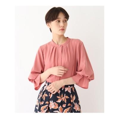 エージー バイ アクアガール AG by aquagirl バンドカラーボリューム袖ブラウス【Lサイズあり】 (ピンク)