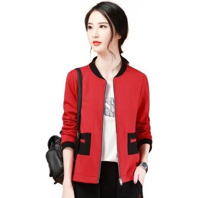 エイン A-In Girls レディース ブルゾン スタンドカラーコート スタンドカラー アウター Fashion Stand Collar Plus Velvet Sweater Coat red/black