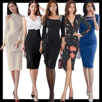 新作追加 ワンピース韓国ファッションOL正式な場合礼装ドレスセクシーなワンピース一字肩二点セット