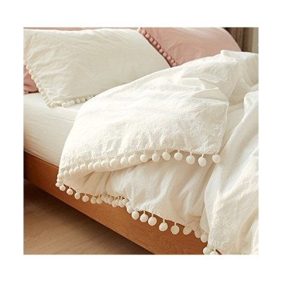 FLBerキング布団カバーホワイトポンポン付きの高級綿寝具キルト、掛け布団、96 x 104 in