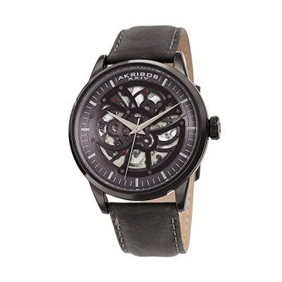 Akribos XXIV Skeleton Men's Watch ? Grey Genuine Leather Strap Matte Finish ? Automatic Mechanical Wristwatch See Through Dial ? AK1018BK 並