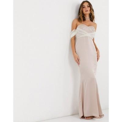 ミスガイデッド ミディドレス レディース Missguided organza sleeve bridesmaid dress in champagne エイソス ASOS
