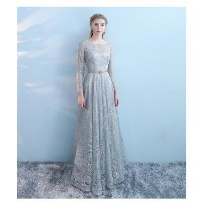 ロングドレス 上品 大人 袖あり ウエディングドレス お姫様ドレス ステージ衣装 プリンセス オペラ声楽 成人式 花嫁 忘年会 結婚式 ピアノ パーディードレス