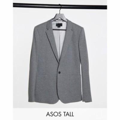 エイソス ASOS DESIGN メンズ スーツ・ジャケット アウター Tall belted super skinny jersey blazer in grey グレー