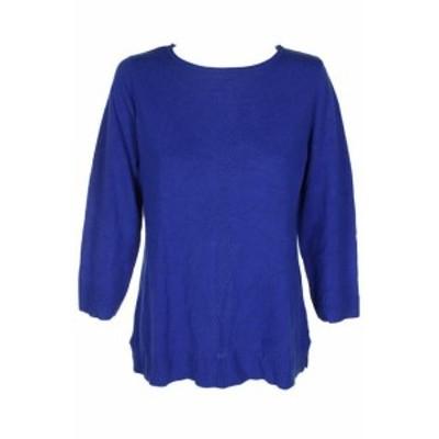Scott  ファッション トップス Karen scott royal blue rolled-neck three quarter sleeve ribbed hem sweater/l