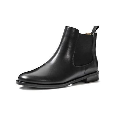 ONEENO Women's Classic Black Leather Chelsea Boots 6 M US【並行輸入品】