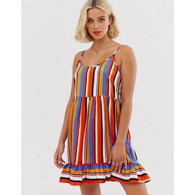 ピーシーズ Pieces レディース ワンピース ワンピース・ドレス stripe mini dress with frill hem Multi