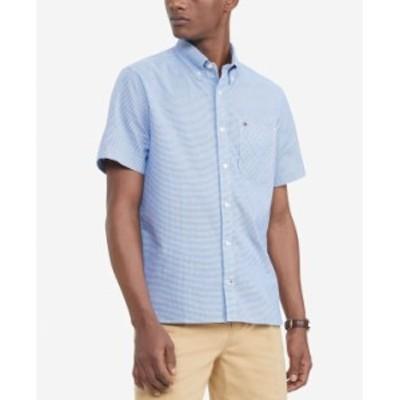 トミー ヒルフィガー メンズ シャツ トップス Men's Custom-Fit TH Flex Stretch Ike Geo-Print Shirt Limoges