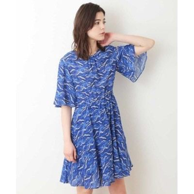 TARA JARMON/タラジャーモン ウェーブプリントドレス ブルー 36
