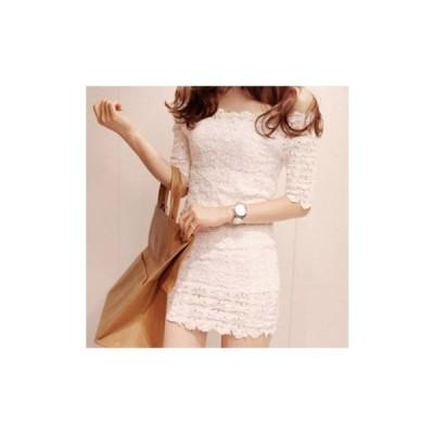 ワンピース レディース パーティードレス 40代 20代 結婚式 韓国 10代 無地 半袖 ミニ丈 ショート丈 白 レース パーティドレス 結婚式 二次会 およばれ