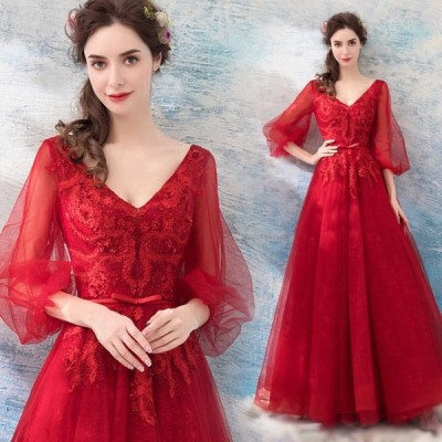 【ANGEL】肌透けチュールレースビーズバルーンスリーブ七分袖付き背中編上げAラインロングドレス【送料無料】高品質 レッド 赤 ロングドレス