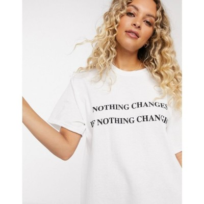 ニューガールオーダー New Girl Order レディース Tシャツ トップス oversized t-shirt with change slogan ホワイト