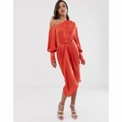 エイソス ASOS DESIGN レディース ワンピース ワンピース・ドレス one shoulder blouson midi dress in washed satin Burnt orange