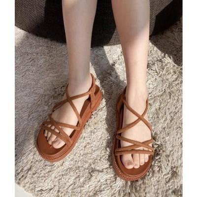 MIXXMIX レディース サンダル Crisscross Strap Platform Sandals