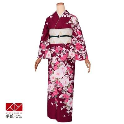 袷 訪問着 レンタル 結婚式 入学式 卒業式 赤紫 枝垂桜(宅) 対応身長155〜164cm H1092