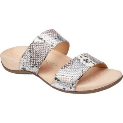バイオニック サンダル シューズ レディース Randi Two Strap Slide (Women's) Silver Boa Metallic Leather