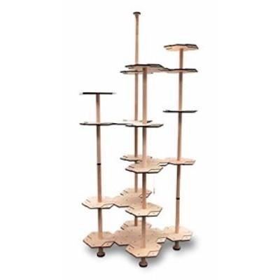 【にゃんこタワー】組み替え可能な 木製 インテリア キャットタワー YUUGA2(新古未使用品)