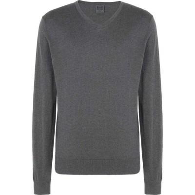 オット バイ ユークス 8 by YOOX メンズ ニット・セーター Vネック トップス cotton-silk blend v-neck sweater Grey