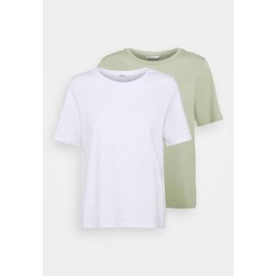 レディース ファッション ONLONLY LIFE 2 PACK - Print T-shirt - white/desert sage