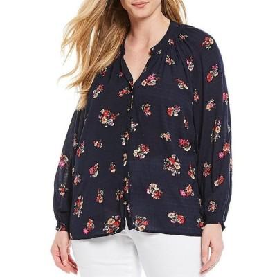 デモクラシー レディース シャツ トップス Plus Size Bouquet Floral Print V-Neck Long Sleeve Button Front Top
