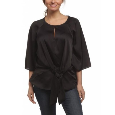 レディース 衣類 トップス Zac & Rachel Women's Round Neck Dolman Bell Sleeve Pebble Satin Top Black Small ブラウス&シャツ
