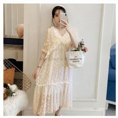レディースファッション 高品質2020韓国のファッション大きいサイズの女性の水玉ドレス緩いカジュアルな風のレースのステッチの女性の服