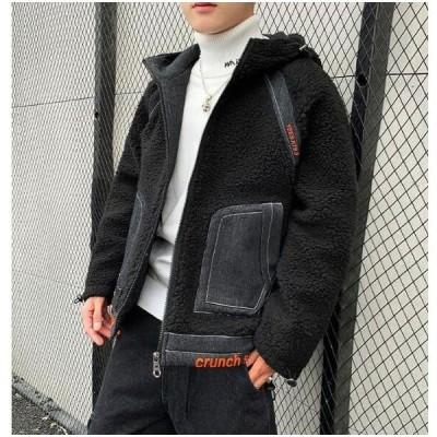 ファーコート メンズ フェイクファーコート アウター ジャケット 毛皮コート 大きいサイズ ショートコート 男性 高級感 韓国風 厚手 防寒服 カジュアル